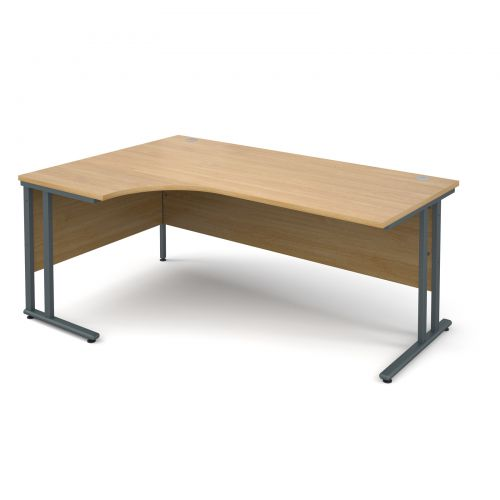Maestro 25 GL left hand ergonomic desk 1800mm - graphite cantilever frame, oak top
