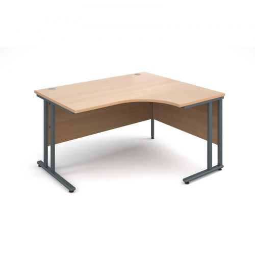 Maestro 25 GL right hand ergonomic desk 1400mm - graphite cantilever frame and beech top