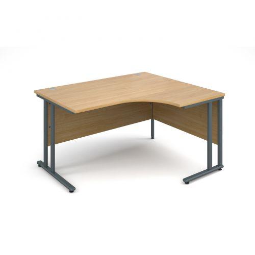 Maestro 25 GL right hand ergonomic desk 1400mm - graphite cantilever frame, oak top
