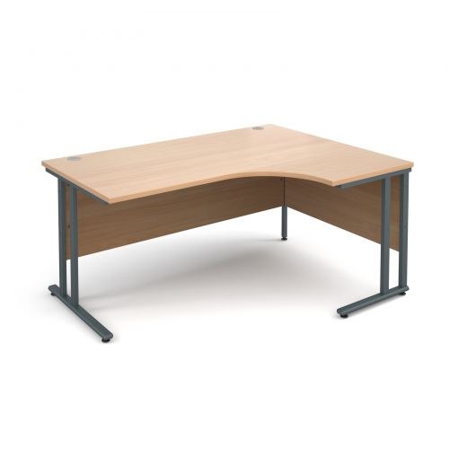 Maestro 25 GL right hand ergonomic desk 1600mm - graphite cantilever frame and beech top