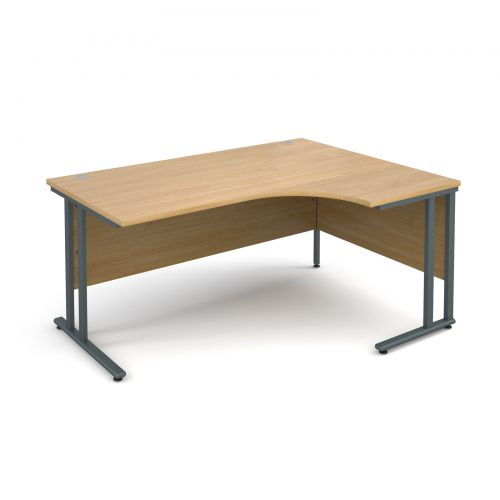 Maestro 25 GL right hand ergonomic desk 1600mm - graphite cantilever frame and oak top