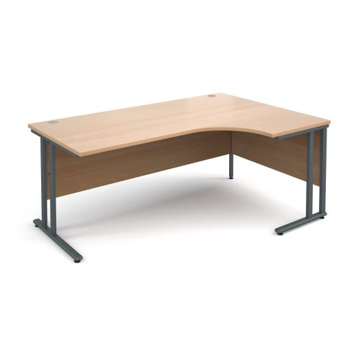 Maestro 25 GL right hand ergonomic desk 1800mm - graphite cantilever frame, beech top