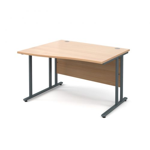 Maestro 25 GL left hand wave desk 1200mm - graphite cantilever frame and beech top