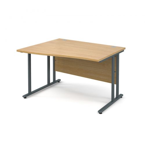Maestro 25 GL left hand wave desk 1200mm - graphite cantilever frame and oak top