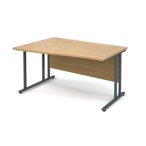 Maestro 25 GL left hand wave desk 1400mm - graphite cantilever frame and oak top