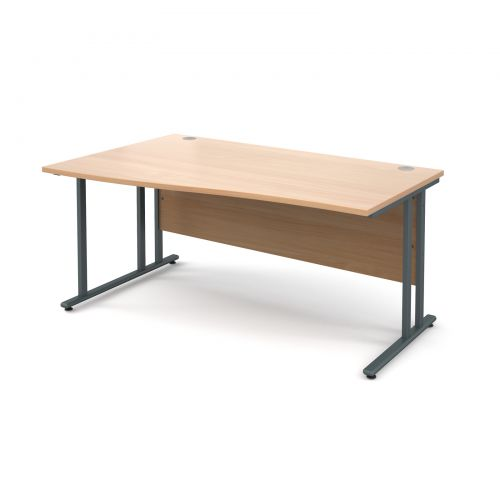 Maestro 25 GL left hand wave desk 1600mm - graphite cantilever frame and beech top