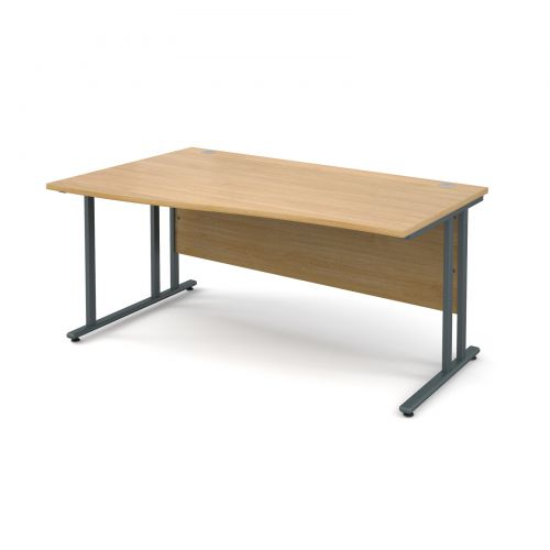 Maestro 25 GL left hand wave desk 1600mm - graphite cantilever frame and oak top