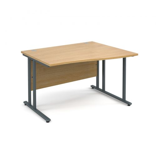 Maestro 25 GL right hand wave desk 1200mm - graphite cantilever frame and oak top