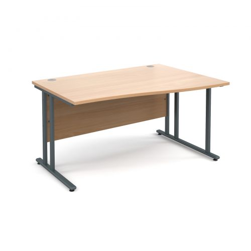 Maestro 25 GL right hand wave desk 1400mm - graphite cantilever frame, beech top