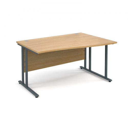 Maestro 25 GL right hand wave desk 1400mm - graphite cantilever frame and oak top