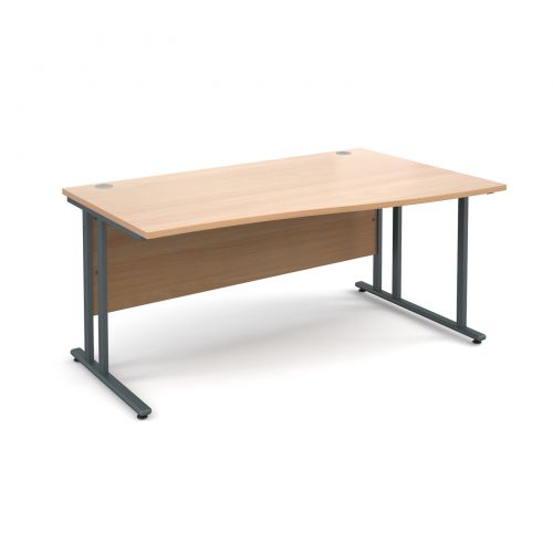 Maestro 25 GL right hand wave desk 1600mm - graphite cantilever frame, beech top