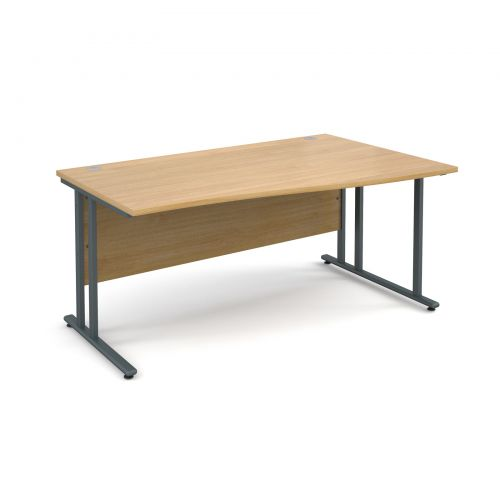 Maestro 25 GL right hand wave desk 1600mm - graphite cantilever frame and oak top