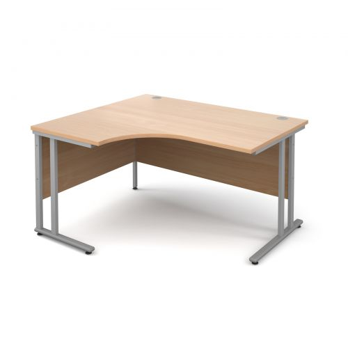 Maestro 25 SL left hand ergonomic desk 1400mm - silver cantilever frame, beech top
