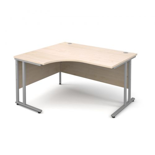 Maestro 25 SL left hand ergonomic desk 1400mm - silver cantilever frame, maple top