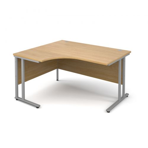 Maestro 25 SL left hand ergonomic desk 1400mm - silver cantilever frame and oak top