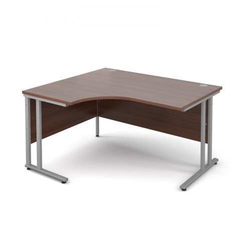 Maestro 25 SL left hand ergonomic desk 1400mm - silver cantilever frame and walnut top