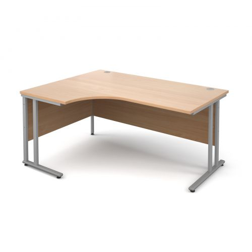 Maestro 25 SL left hand ergonomic desk 1600mm - silver cantilever frame and beech top