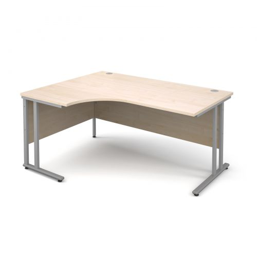 Maestro 25 SL left hand ergonomic desk 1600mm - silver cantilever frame and maple top