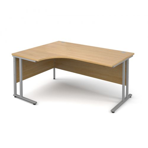 Maestro 25 SL left hand ergonomic desk 1600mm - silver cantilever frame and oak top
