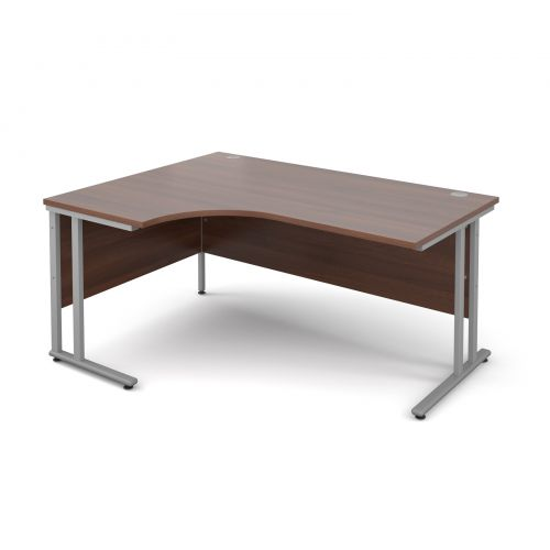 Maestro 25 SL left hand ergonomic desk 1600mm - silver cantilever frame, walnut top