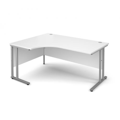 Maestro 25 SL left hand ergonomic desk 1600mm - silver cantilever frame and white top