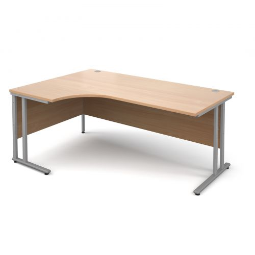Maestro 25 SL left hand ergonomic desk 1800mm - silver cantilever frame, beech top