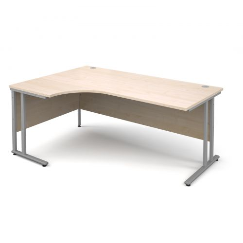 Maestro 25 SL left hand ergonomic desk 1800mm - silver cantilever frame, maple top