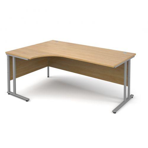 Maestro 25 SL left hand ergonomic desk 1800mm - silver cantilever frame and oak top