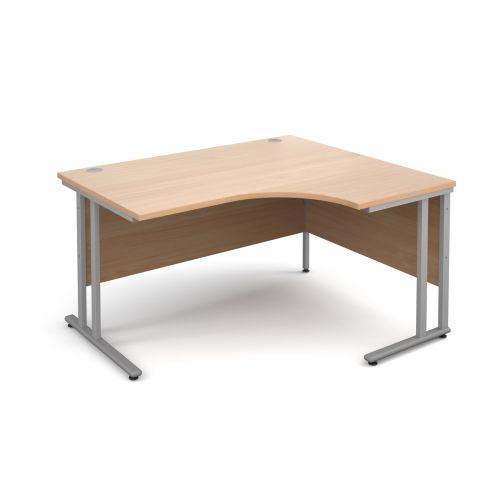 Maestro 25 SL right hand ergonomic desk 1400mm - silver cantilever frame, beech top