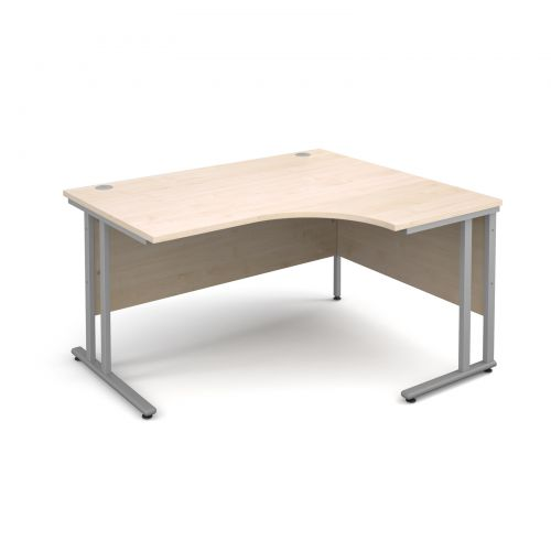 Maestro 25 SL right hand ergonomic desk 1400mm - silver cantilever frame, maple top