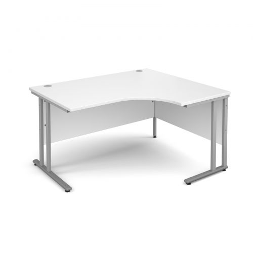 Maestro 25 SL right hand ergonomic desk 1400mm - silver cantilever frame and white top