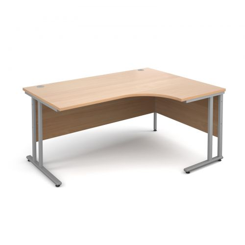 Maestro 25 SL right hand ergonomic desk 1600mm - silver cantilever frame and beech top