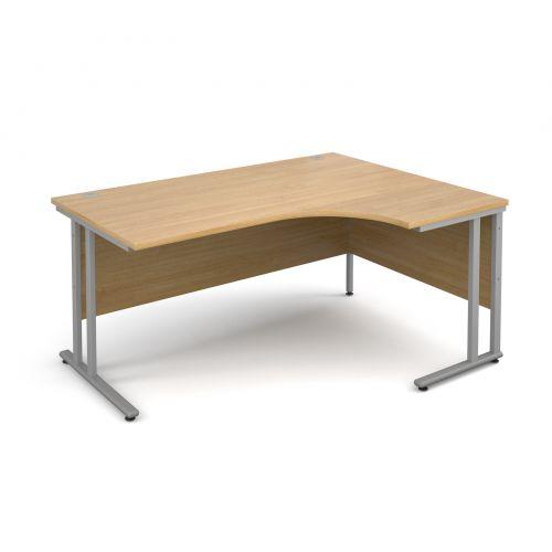 Maestro 25 SL right hand ergonomic desk 1600mm - silver cantilever frame, oak top