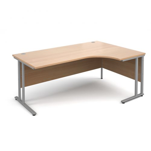 Maestro 25 SL right hand ergonomic desk 1800mm - silver cantilever frame, beech top