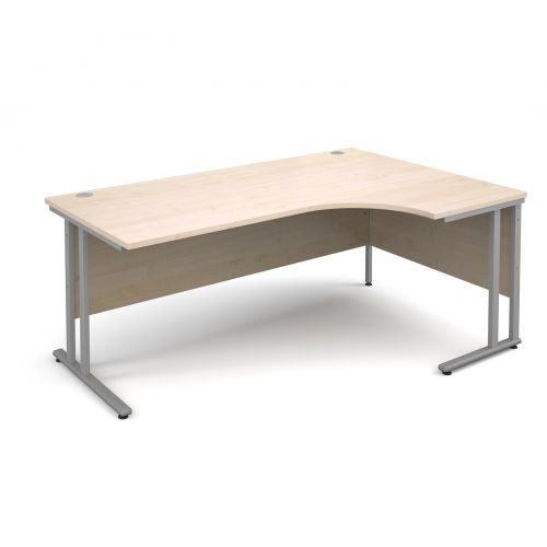 Maestro 25 SL right hand ergonomic desk 1800mm - silver cantilever frame, maple top