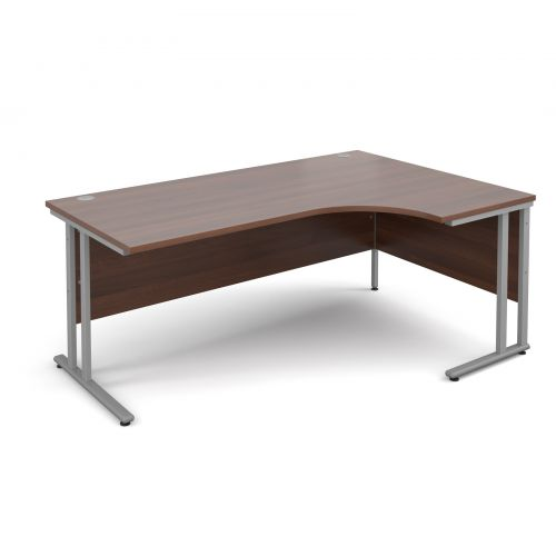 Maestro 25 SL right hand ergonomic desk 1800mm - silver cantilever frame and walnut top