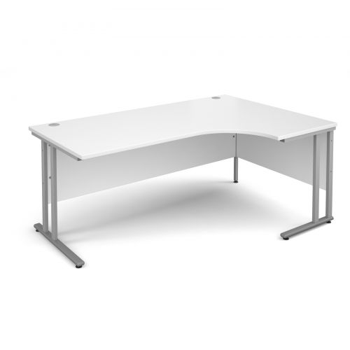 Maestro 25 SL right hand ergonomic desk 1800mm - silver cantilever frame, white top