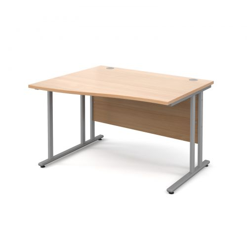 Maestro 25 SL left hand wave desk 1200mm - silver cantilever frame and beech top