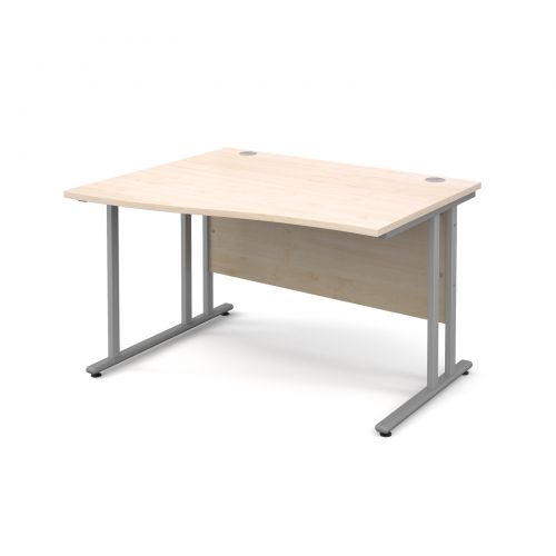 Maestro 25 SL left hand wave desk 1200mm - silver cantilever frame, maple top