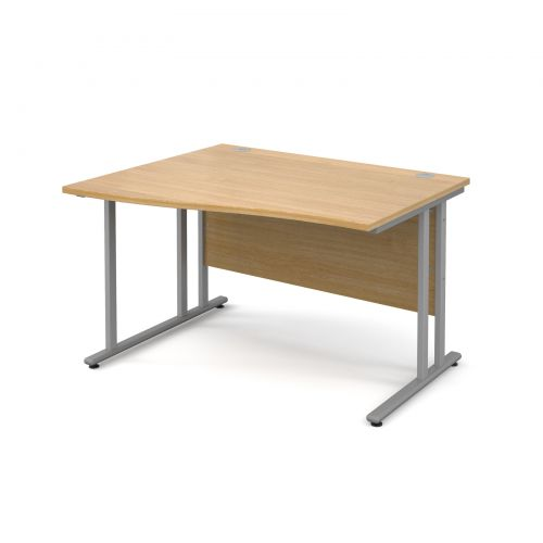 Maestro 25 SL left hand wave desk 1200mm - silver cantilever frame, oak top