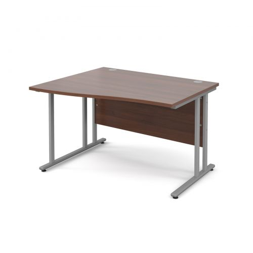 Maestro 25 SL left hand wave desk 1200mm - silver cantilever frame and walnut top