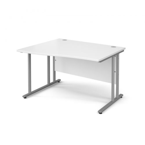 Maestro 25 SL left hand wave desk 1200mm - silver cantilever frame and white top