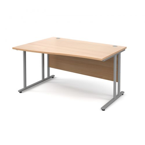 Maestro 25 SL left hand wave desk 1400mm - silver cantilever frame and beech top