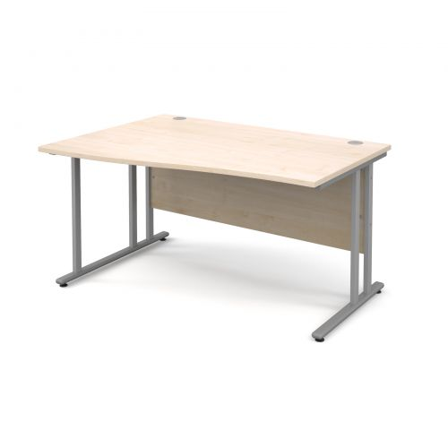 Maestro 25 SL left hand wave desk 1400mm - silver cantilever frame and maple top