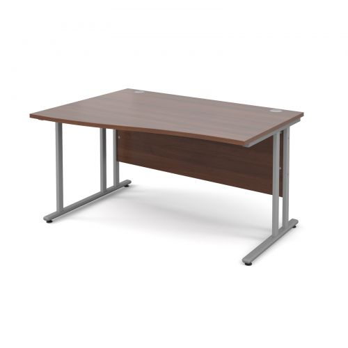 Maestro 25 SL left hand wave desk 1400mm - silver cantilever frame and walnut top