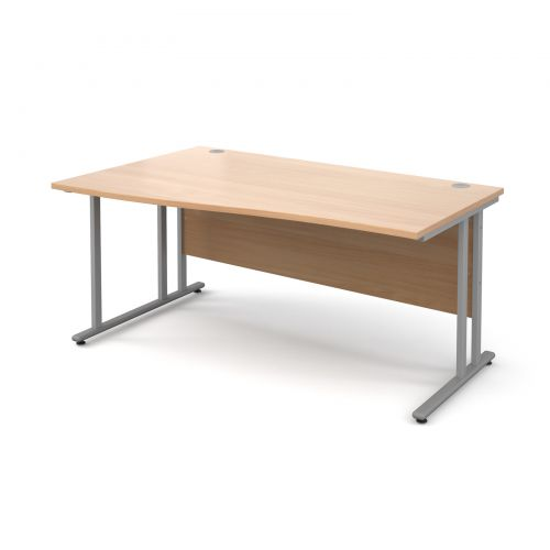 Maestro 25 SL left hand wave desk 1600mm - silver cantilever frame and beech top