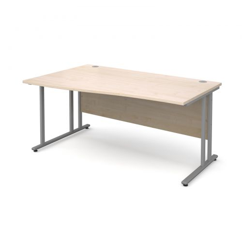 Maestro 25 SL left hand wave desk 1600mm - silver cantilever frame, maple top
