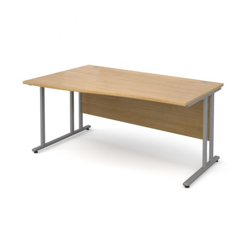 Maestro 25 SL left hand wave desk 1600mm - silver cantilever frame and oak top