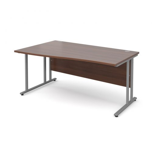 Maestro 25 SL left hand wave desk 1600mm - silver cantilever frame and walnut top