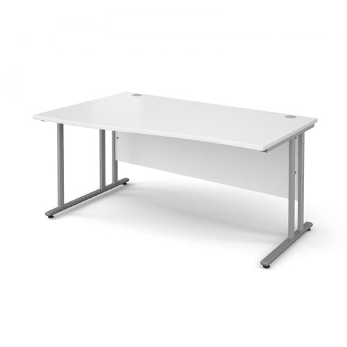 Maestro 25 SL left hand wave desk 1600mm - silver cantilever frame and white top